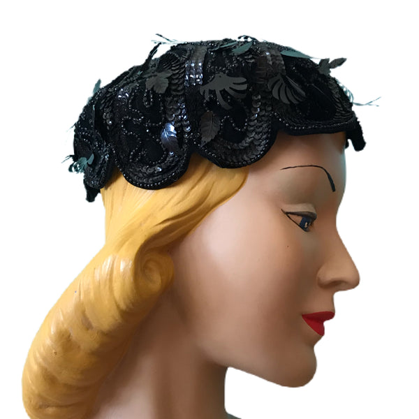 Unique Black Cello Braided Cocktail Hat with Feather and Lash Shaped Dangling Sequins circa 1960s