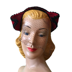 Molten Red Curled Devil Horn Veiled Cocktail Hat circa 1950s