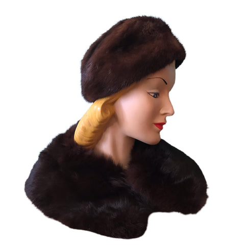 Deep Cocoa Brown Mink Rounded Top Hat with Collar circa 1960s