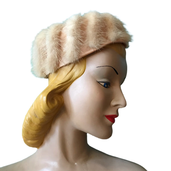 Champagne Mink and Satin Cocktail Hat circa 1960s
