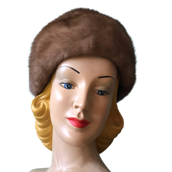 Mahogany Brown Mink Soft Sided Hat circa 1960s