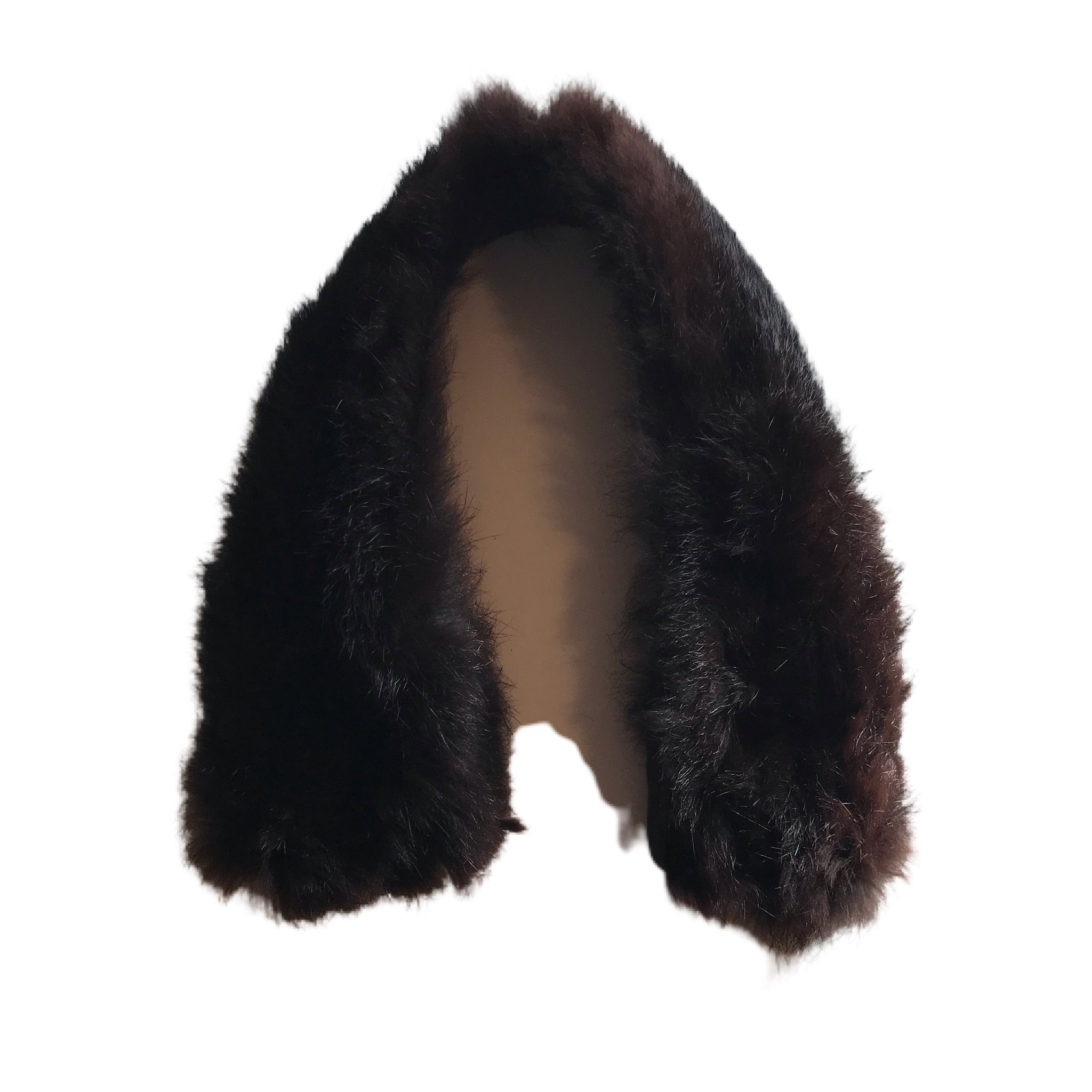Small Deepest Brown Muskrat Fur Collar circa 1960s