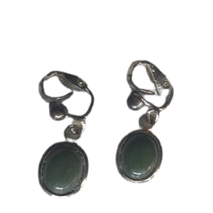 Dangling Green Stone Mexican Silver Screw Back Clip Earrings circa 1940s