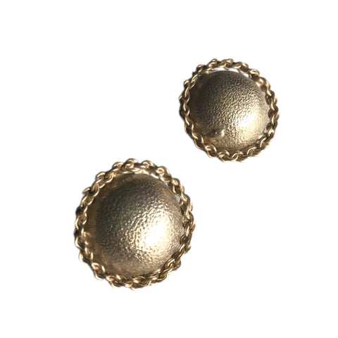 Hammered Gold Painted Dome Clip Earrings with Chain Edge circa 1960s