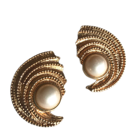 Faux Pearl and Swirled Gold Tone Metal Clip Earrings circa 1960s