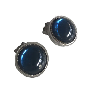 Blue Glass Cabochon Clip Earrings circa 1960s