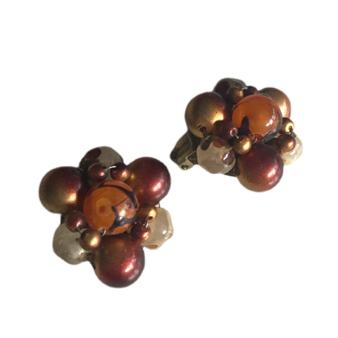 Tiger's Eye Inspired Beaded Cluster Clip Earrings circa 1960s
