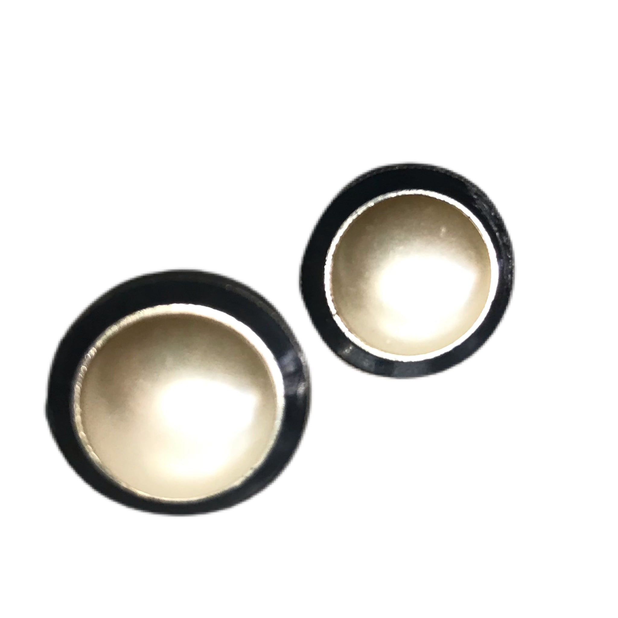 Domed Faux Pearl Clip Earrings with Black Enameled Edge circa 1960s
