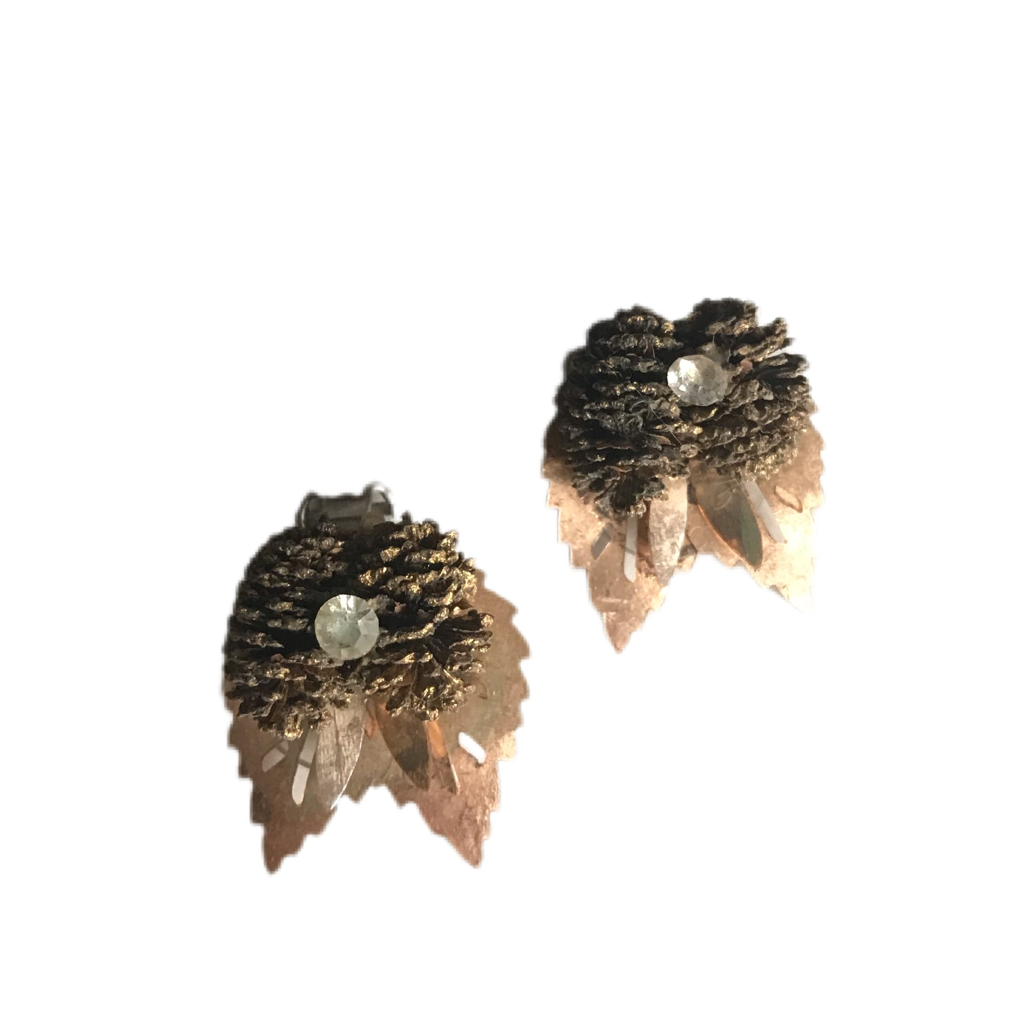 Leaves And Pinecones Rhinestone Dotted Clip Earrings circa 1960s