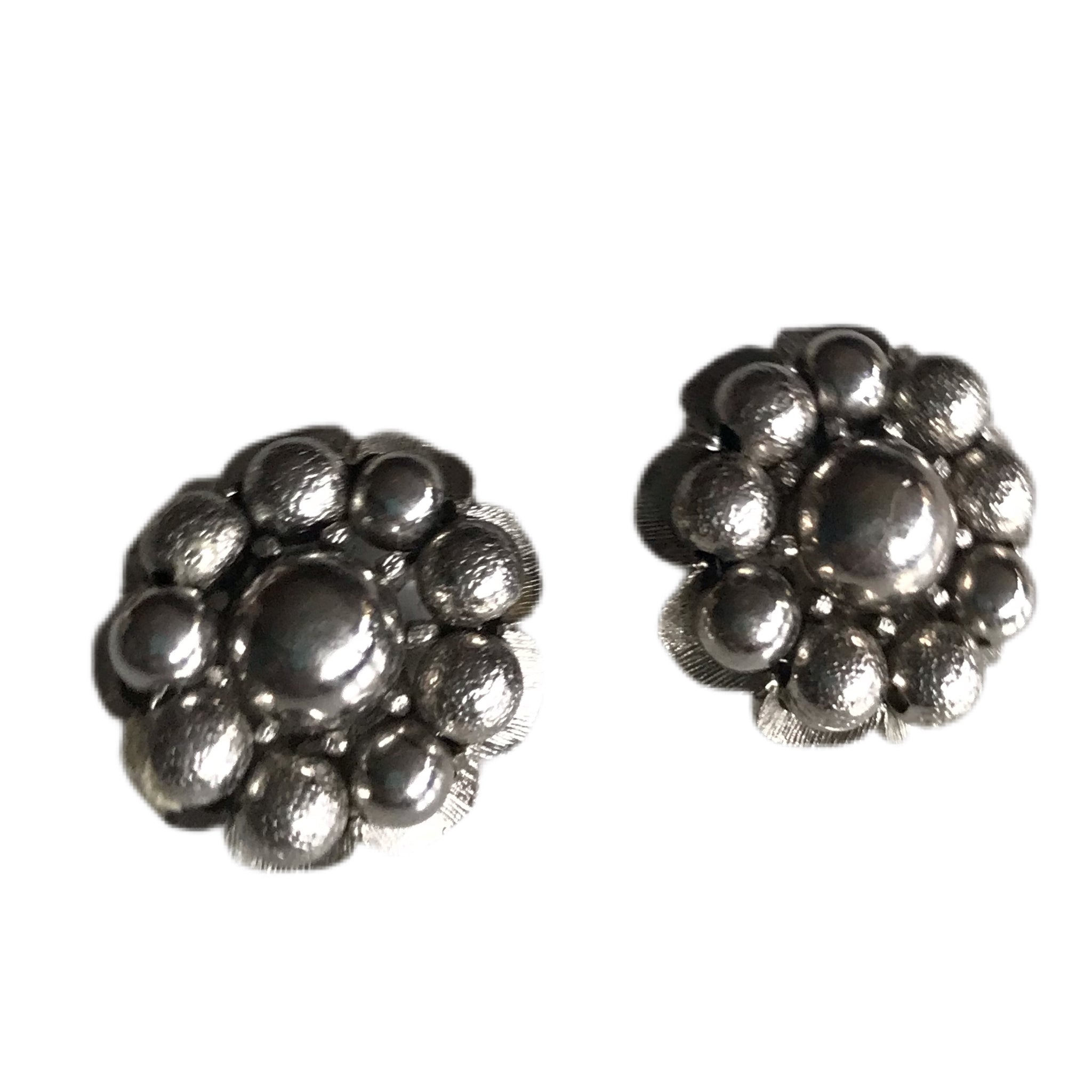 Silver Tone Metal Ball Cluster Clip Earrings circa 1940s