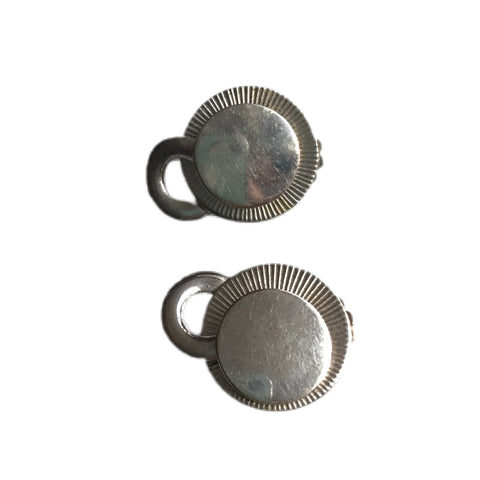 Silver Tone Metal Disc with Chain Accent Clip Earrings circa 1960s