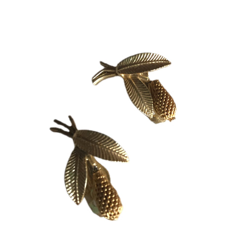 Golden Pinecone Clip Earrings circa 1960s