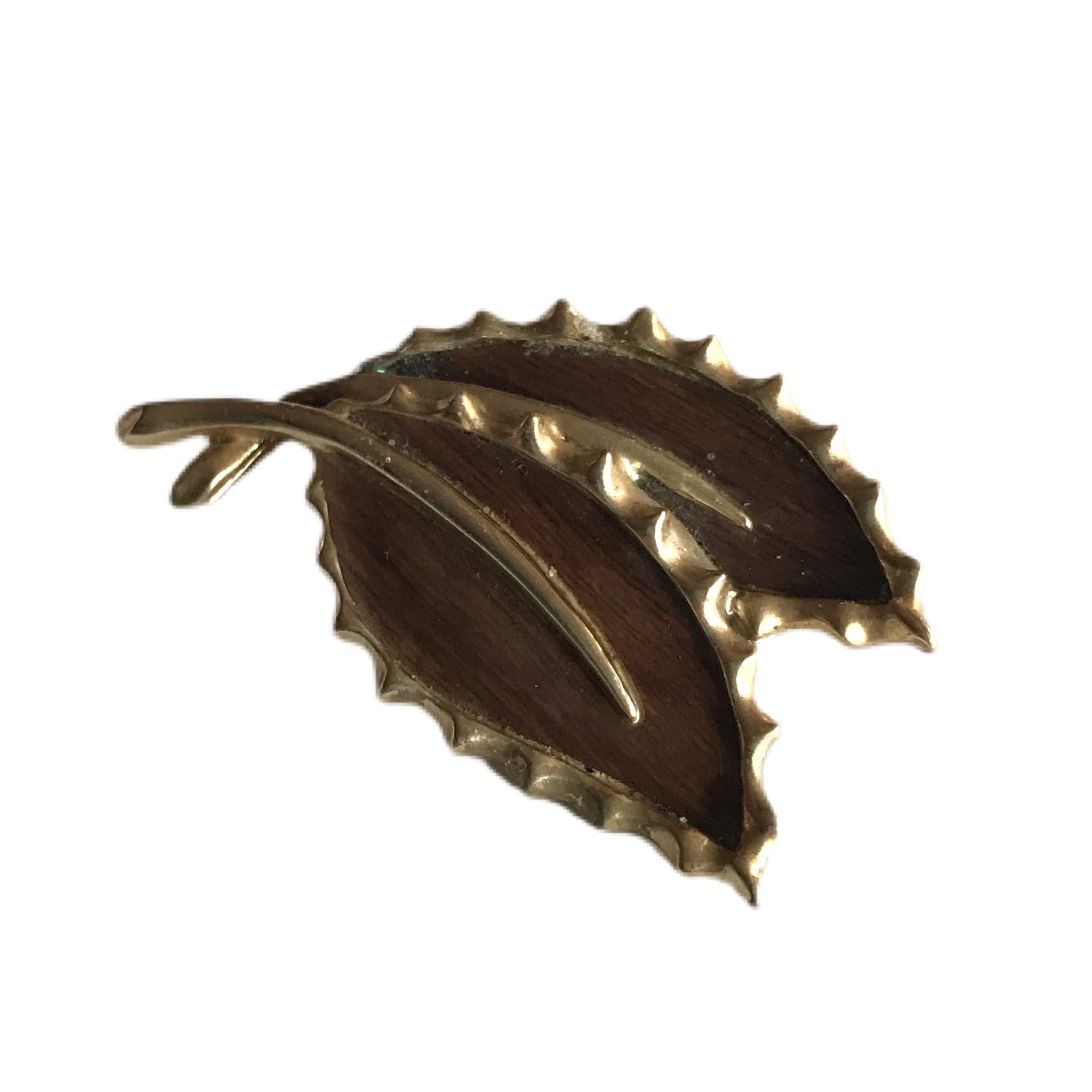 Woodgrain and Gold Tone Metal Leaf Duo Brooch circa 1960s