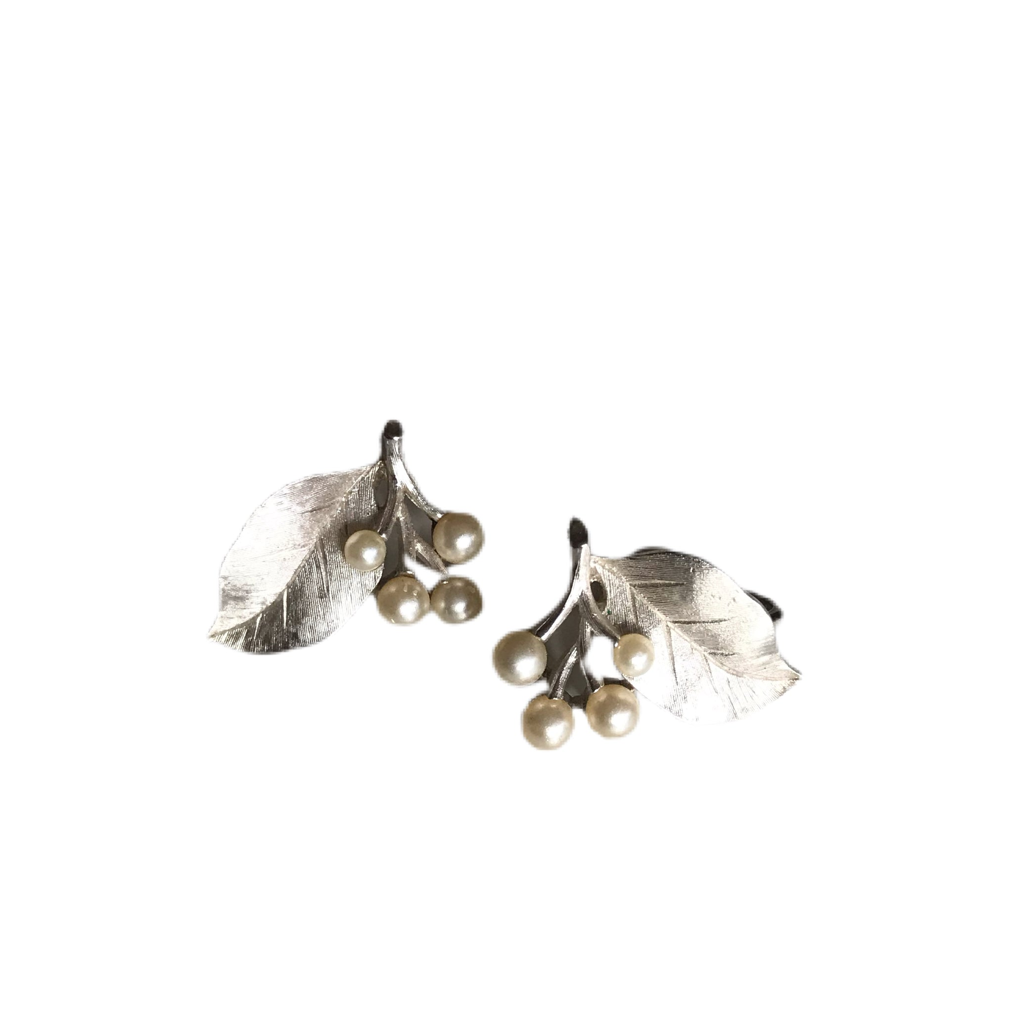 Faux Pearl and Silver Tone Leaf Clip Earrings circa 1940s
