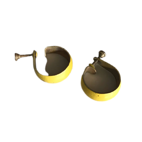 Enameled Yellow Miniature Hoop Earrings circa 1940s