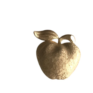 Gold Tone Brushed Gold Apple Brooch circa 1960s