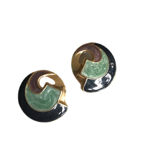 Swirled Blue, Teal and Gold Tone Enameled Metal Clip Earrings circa 1980s