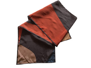 Vera Geometric Print Oblong Scarf in Russet and Brown circa 1960s