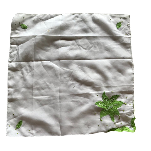 Lime Cutwork Floral Design Cotton Handkerchief circa 1930s
