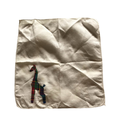 White Voile Cotton Handkerchief with Plaid Giraffe Rhinestone Eye circa 1930s