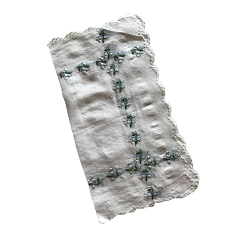 2 White Embroidered Lily of the Valley Flowers Handkerchief circa 1940s