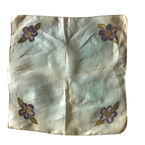 Ombre Greens Sweet Cotton Handkerchief with Painted and Embroidered Flowers circa 1940s