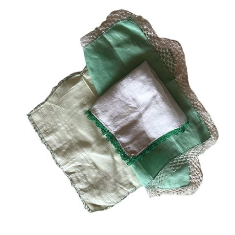 Set of 3 Green Tatted Edge Handkerchiefs circa 1940s