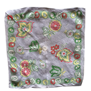 Grey Green and Yelow Folkloric Print Handkerchief circa 1940s