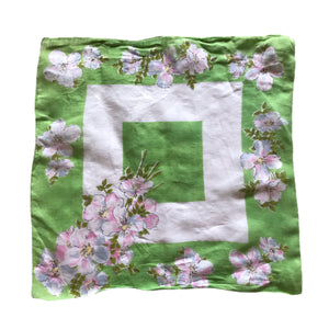 Dogwood Pink and White Flower Print Spring Green Handkerchief circa 1940s