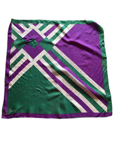 Vera Purple and Green Geometric Print Scarf circa 1960s