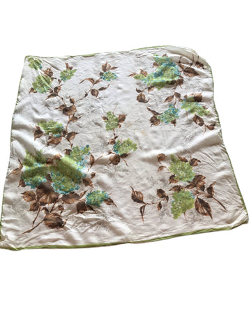 Hydrangea Floral and Leaf Print Large Silk Scarf circa 1940s