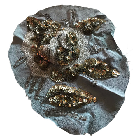 Extravagantly Beaded 3-D Sequined Rose Applique Scrap circa 1940s