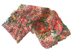 Bright Pink and Orange Floral Print Nylon Chiffon Oblong Scarf circa 1970s