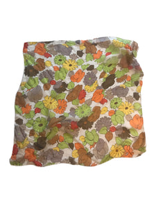 Autumnal Floral Print Chiffon Square Scarf circa 1970s
