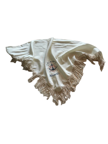 WWII Fringed Asymetrical White Rayon US Navy Scarf circa 1940s