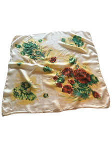 Yellow, Green and Brown Floral Print Silk Square Large Scarf circa 1940s