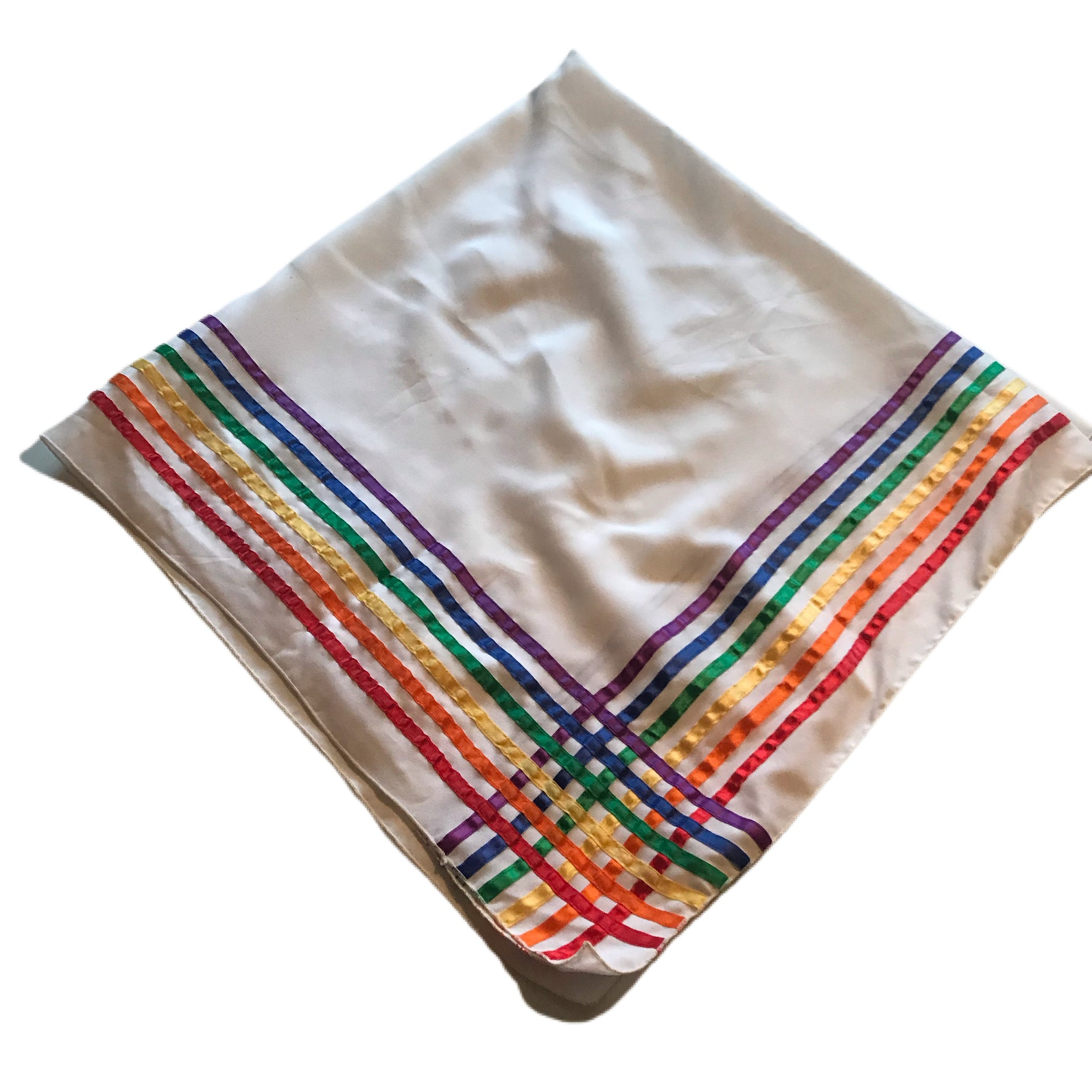 Rainbow Ribbon Striped White Oversized Scarf circa 1970s