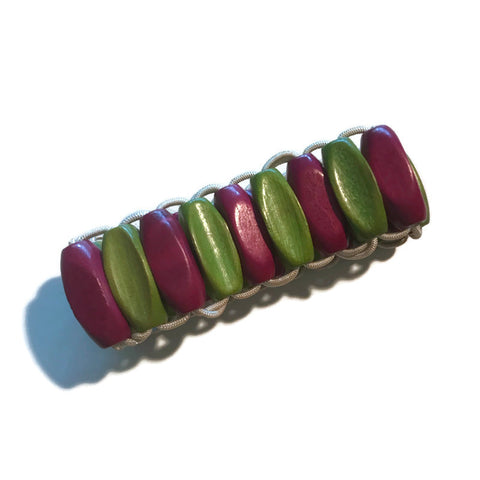 Czech Wooden Beads Chartreuse Green and Raspberry Bracelet circa 1930s