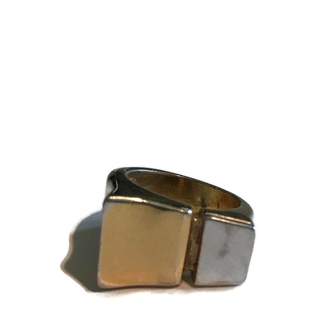 Minimalist Gold and Silver Metal Squared Face Ring circa 1960s