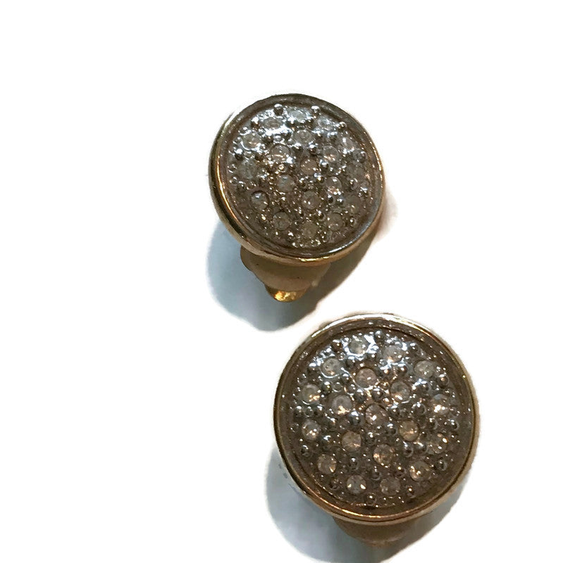 Gold & Silver Tone Metal Round Rhinestone Clip Earrings circa 1960s