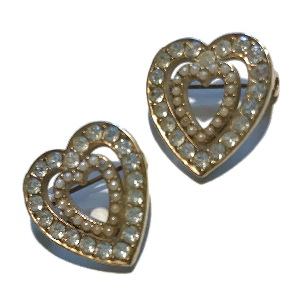 Two of Hearts Rhinestones and Faux Pearls Gold Tone Metal Heart Brooches circa 1960s