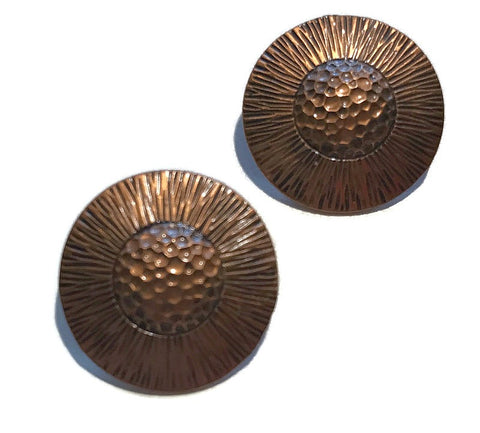 Sunflower Etched Copper Clip Earrings circa 1940s