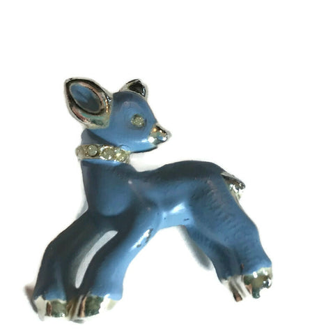 Enameled Pastel Blue Baby Deer Brooch with Rhinestones circa 1950s