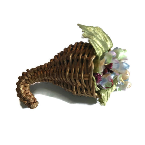 Wicker Cornucopia Brooch with Pastel Flowers circa 1950s
