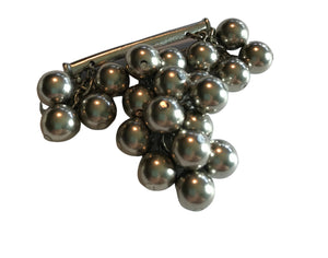 Silver Ball Beaded Metal Brooch circa 1940s
