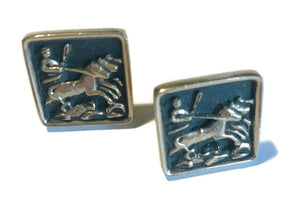 Gladiator and Horses Enameled Black and Gold Cufflinks circa 1960s