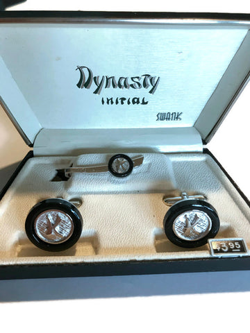 """K"" Dynasty Initial Cufflink and Tie Clip Boxed Set circa 1960s"