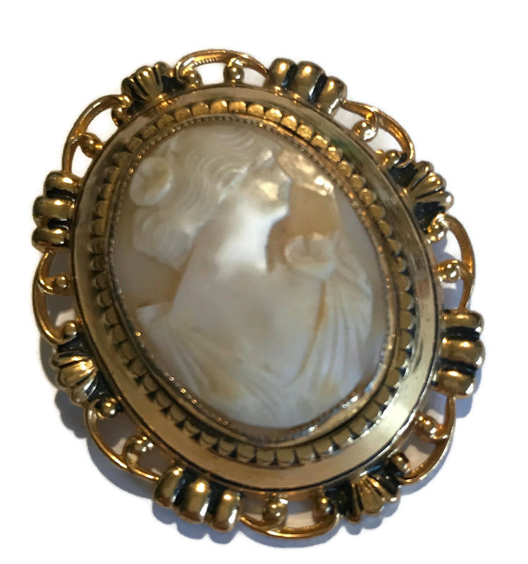 Classic Faux Cameo Statement Brooch circa 1960s