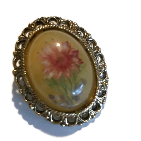 Lucite Domed Brooch with Dried Flower circa 1960s