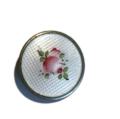 Diminuitive Rose Painted Disc Brooch circa 1940s